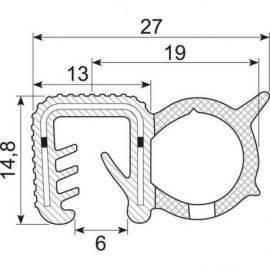 Kantliste m-slange sort 4-6mmh:16mm