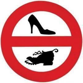 Klistermærke - ingen fodtøj