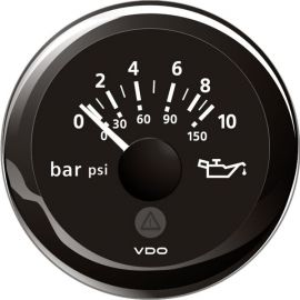 Vdo olietryksmåler 0-10bar, sort ø52mm