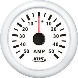 KUS amperemeter hvid, med 50a shunt 12/24v